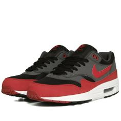 sports shoes 27a32 46bc8 my HS colors- Nike Air Max 1 (Black, Gym Red   Anthracite)
