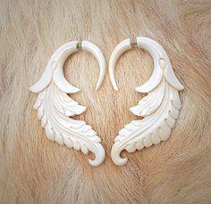 carved bone earrings - archaic dreamyness