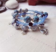 Купить Браслет Еду на море, многорядный синий, голубой с подвесками - синий, голубой, морской, браслет