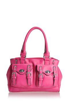 Melie Bianco Lana shoulder bag with double belted pockets