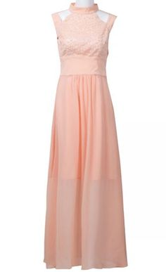 Pink Stand Collar Sleeveless Hollow Sequined Dress pictures
