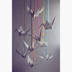 "#112 ""Hang in there"" crane  #origami #papercraft #paperfolding #minimal #minimalist #senbazuru #1000cranes #dailyart #daily #instaart #light #colors #colours #tsuru"