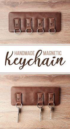 This is a great home decor idea for an organization system that looks good too hanged on your entryway wall or door. This product minimalist design is great for wall decoration and makes an authentic and unique cool gift for any birthday or anniversary occasion. Personalize each magnetic keychain with your initials. Take a look at this Magnetic Leather Keychain. #home #decor #leatherwork #crafts #handmade