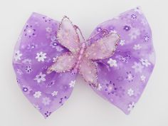 Lavender Butterfly Hair Bow  Purple Hair by MissLottiesBoutique