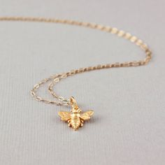 Items similar to Tiny Gold Bee Necklace - 24k Gold Vermeil Bee Charm 14k Gold Filled Chain - Little Honey Bee Pendant, Bumble Bee, Garden Wedding, Queen Bee on Etsy. , via Etsy.