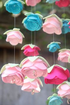 Baby Mobile Felt Flower Swarovski Crystal Colors by byAllySen