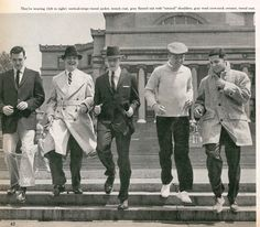 "The ""Ivy League Look,"" 1955. This style cultivated at college campuses would come to dominate men's fashion for the next 15 years.    Natural shoulders, button-down shirts, Baracuta jackets, and narrowing tie widths, trouser legs and suit jacket lapels."