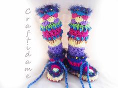 Amazing Funky Crochet Slipper Boots by FunkyCrochetArt on Etsy