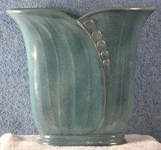 Frankoma Modelled Wheat Vase (#74) in Indian (Peacock) Blue glaze, ca. 1942-50.