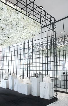 Alexander Wang |  the equivalent in iconic architecture is my long time favourite Jeff Letham, installation of 3000  suspended white hydrangeas at the Soho store, NYC. #alexanderwang #jeffletham #nyc #newyork #florals