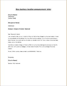 Invitation letter to welcome banquet for new president of company new business location announcement letter stopboris Gallery