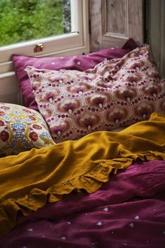 SOCIETY OF WANDERERS I Turmeric Linen Sheets I Antipodream Cushion Inspiration, Window Bed, Window Seats, Queen Sheets, Bed Cushions, Embroidered Pillowcases, Bed Linen Design, Luxury Bedding Collections, Linen Duvet