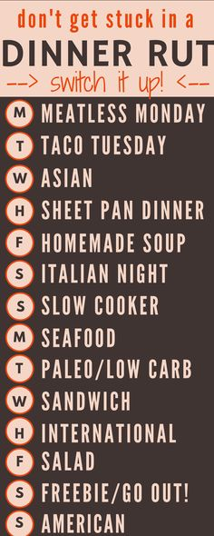 Meal planning info graphic - Two week's worth of creative dinner theme ideas for when you're stuck in a dinner rut!