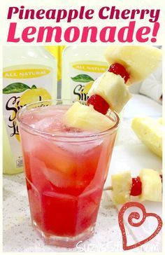 Icy Pineapple Cherry Lemonade for the summer! Icy Pineapple Cherry Lemonade for the summer!,Drinks Enjoy a refreshing beverage this summer! This pineapple cherry lemonade recipe will be a crowd pleaser. Make a cool, icy. Party Drinks, Fun Drinks, Healthy Drinks, Beverages, Healthy Food, Nutrition Drinks, Healthy Recipes, Mixed Drinks, Tea Party