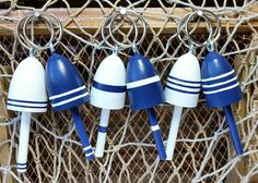 Lobster Buoy Key Chains Nautical Navy and White set of 6