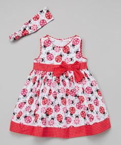 Look what I found on #zulily! Red & White Ladybug Swing Dress & Headband - Toddler #zulilyfinds