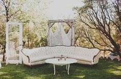 Vintage seating area for an outdoor venue.