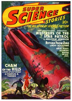 Super Science Stories, August 1942, cover art by Hubert Rogers.