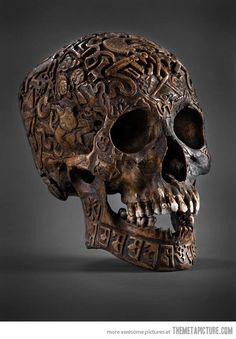 An Engraved Tibetan Skull…My history board is getting kind of macabre...but i LIKE it