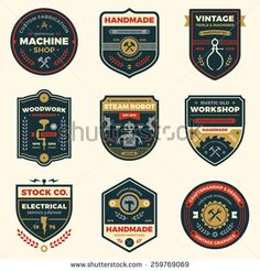 Set of retro vintage workshop badges and vector label graphics