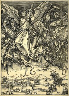 "Albrecht Dürer, ""St Michael fighting the Dragon"" (1498) (via British Library)"