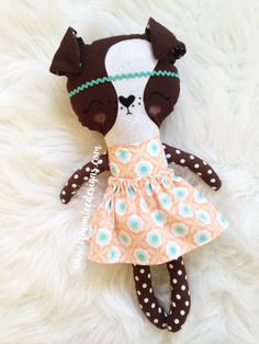 a3af19e2587 Betty the Girl Boxer Dog Puppy Doll. Customizable Dress Up Cloth Rag