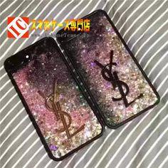 カラフル輝くきらきらイヴサンローランYSLコールドiPhone8/7s/7Plusケース黒いブラック色アイフォン7/6s Plus/6携帯カバー紫ムラサキ豪華風