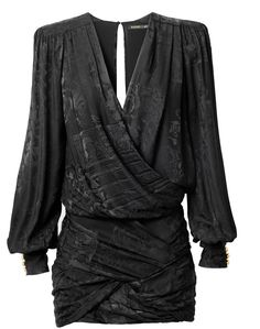 Super dramatic drapey black plunging neckline mini dress by Balmain x H&M...love the long sleeves and textured fabric, it's kind of goth, but I love it. SO COOL!