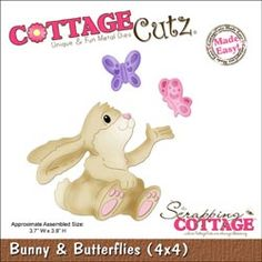 """CottageCutz - CottageCutz Die 4""""X4"""" - Bunny & Butterflies Made Easy"""