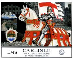 Image of 'carlisle, the gateway to scotland', lms poster, by Science & Society Picture Library Posters Uk, Train Posters, Railway Posters, Poster Prints, Glasgow School Of Art, Vintage Travel Posters, Poster Vintage, Carlisle, Graphic Illustration