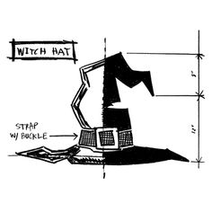 Tim Holtz Rubber Stamp 2014 WITCH HAT SKETCH Stampers Anonymous P1-2412