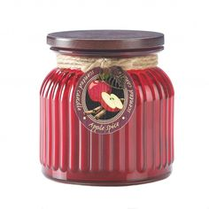Apple Spice Ribbed Glass Jar Scented Candle For Your Home