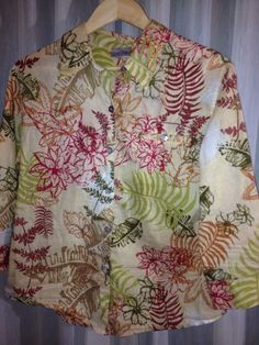 "Chico's CHICO ALOHA BOTANICAL PRINT Multi 3 Colored 1 BLOUSE Bust 45"" size 2 #Chicos #ButtonDownShirt"