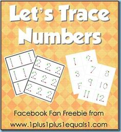 Let's Trace Numbers, Facebook Fan Freebie for 1+1+1=1's Facebook page! www.1plus1plus1equals1.net