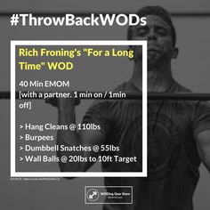 Get your partner ready #ThrowBackWODs #crossfit #crossfitters #wod #woding #iamintheopen #iamintheopen2018 #doubleunders #thrusters #jumprope #snatch #amrap #burpees #rxd #rowing #cardio #getfit #crossfitforbeginners #BeWODready #crossfitopen #crossfitopens #workoutoftheday #crossfitcommunity #workoutoftheweek #dumbbellsnatch #wallballs #hangcleans #whatisrichdoing