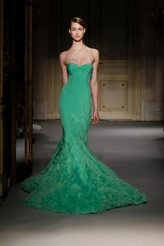 Green Mermaid Gown Georges Hobeika Couture Spring Summer 2013