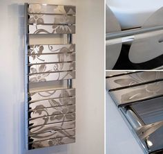 Beautiful British designed chrome towel warmer with a satin chrome etched design. Ideal as a feature in design led bathrooms. Bathroom Radiators, Bathroom Accesories, Designer Radiator, Towel Warmer, Heated Towel Rail, Bathroom Design Luxury, Kitchen And Bath, Polished Chrome, Shoe Rack