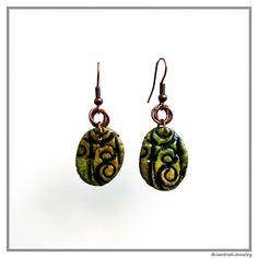 Enchanted Forest Dangle Earrings, Green and yellow earrings, Clay jewelry, Rustic dangle, Organic earring, Artisan jewelry, Small dangle by JantraK