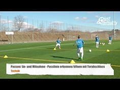 Fussballtraining: Die Passlinie mit Torschuss - Passen - Technik - YouTube