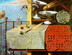 """Living Still Life"" by Salvador Dali, 1956. #art #painting"