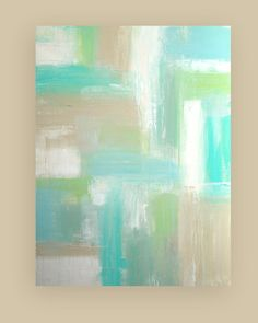 This is an original abstract painting by acrylic artist Ora Birenbaum.    Similar to my original Exhale, I used soft muted shades of sea foam,