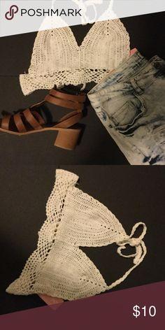 Crochet Halter Crop Top Cream crochet halter crop top w/ tie in the back. Perfect for festival season! NWT! Love Culture Tops Crop Tops