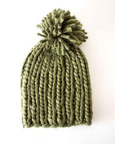 b5b53750136 Kitsch Chunky Pom Beanie - Green Knit Beanie