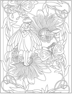 Dover Coloring Pages, Fairy Coloring Pages, Coloring Pages To Print, Adult Coloring Pages, Coloring Sheets, Free Coloring, Creative Haven Coloring Books, Butterfly Coloring Page, Line Artwork