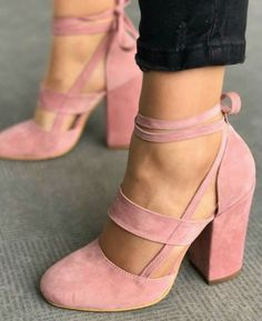 6bacec69506 Pink block heel with sexy wrapped ankle. Follow my board ♥ ♥ ♥