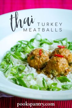 Tender, juicy turkey meatballs flavored with green curry, ginger and garlic served with peanut sauce for a delicious midweek meal.  #thaimeatballs #turkeymeatballs #meatballrecipes Quick Pasta Recipes, Easy Casserole Recipes, Easy Chicken Recipes, Turkey Recipes, Meat Recipes, Easy Dinner Recipes, Asian Recipes, Meatball Recipes, Free Recipes