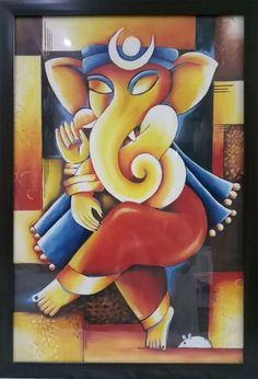 Abstract painting of Lord ganesha - Handpainted Art Painting - X (Framed) Ganesha Drawing, Lord Ganesha Paintings, Ganesha Art, Oil Painting Abstract, Acrylic Painting Canvas, Canvas Paintings, Jesus Painting, Painting For Kids, Rajasthani Art