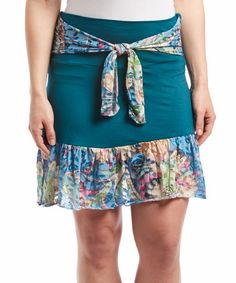 Love this Green Floral A-Line Skirt by Rising International on #zulily! #zulilyfinds  could make one like this?