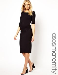 ASOS Maternity | ASOS Maternity Bardot Dress With Half Sleeve In Longer Length at ASOS