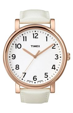 Timex® 'Easy Reader' Leather Strap Watch available at #Nordstrom